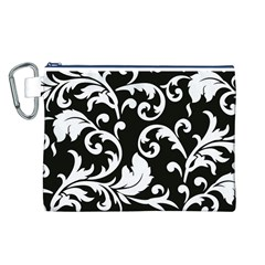 Vector Classical Traditional Black And White Floral Patterns Canvas Cosmetic Bag (l)