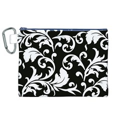 Vector Classical Traditional Black And White Floral Patterns Canvas Cosmetic Bag (xl)