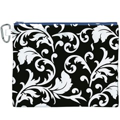 Vector Classical Traditional Black And White Floral Patterns Canvas Cosmetic Bag (xxxl)