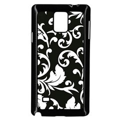 Vector Classical Traditional Black And White Floral Patterns Samsung Galaxy Note 4 Case (black)