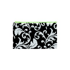 Vector Classical trAditional Black And White Floral Patterns Cosmetic Bag (XS)