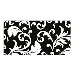 Vector Classical trAditional Black And White Floral Patterns Satin Shawl