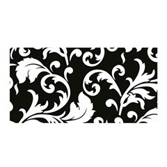 Vector Classical Traditional Black And White Floral Patterns Satin Wrap