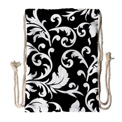 Vector Classical trAditional Black And White Floral Patterns Drawstring Bag (Large)