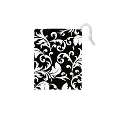 Vector Classical Traditional Black And White Floral Patterns Drawstring Pouches (xs)