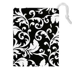 Vector Classical trAditional Black And White Floral Patterns Drawstring Pouches (XXL)