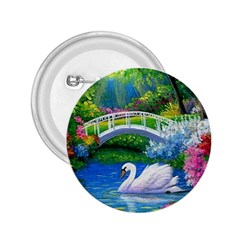 Swan Bird Spring Flowers Trees Lake Pond Landscape Original Aceo Painting Art 2.25  Buttons