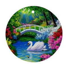 Swan Bird Spring Flowers Trees Lake Pond Landscape Original Aceo Painting Art Ornament (round)