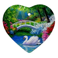 Swan Bird Spring Flowers Trees Lake Pond Landscape Original Aceo Painting Art Ornament (Heart)