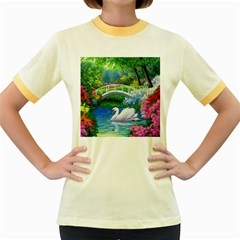 Swan Bird Spring Flowers Trees Lake Pond Landscape Original Aceo Painting Art Women s Fitted Ringer T Shirts