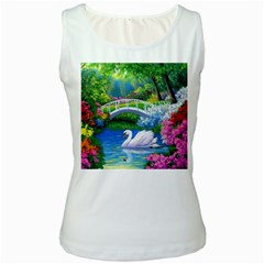 Swan Bird Spring Flowers Trees Lake Pond Landscape Original Aceo Painting Art Women s White Tank Top