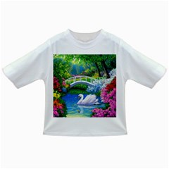 Swan Bird Spring Flowers Trees Lake Pond Landscape Original Aceo Painting Art Infant/toddler T Shirts