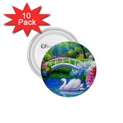 Swan Bird Spring Flowers Trees Lake Pond Landscape Original Aceo Painting Art 1 75  Buttons (10 Pack)