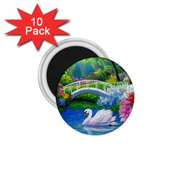 Swan Bird Spring Flowers Trees Lake Pond Landscape Original Aceo Painting Art 1.75  Magnets (10 pack)