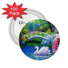 Swan Bird Spring Flowers Trees Lake Pond Landscape Original Aceo Painting Art 2 25  Buttons (100 Pack)