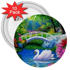 Swan Bird Spring Flowers Trees Lake Pond Landscape Original Aceo Painting Art 3  Buttons (10 Pack)