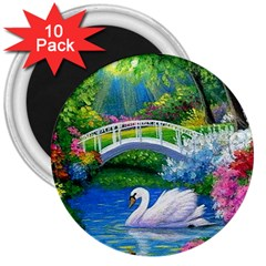 Swan Bird Spring Flowers Trees Lake Pond Landscape Original Aceo Painting Art 3  Magnets (10 Pack)