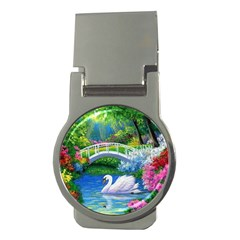 Swan Bird Spring Flowers Trees Lake Pond Landscape Original Aceo Painting Art Money Clips (Round)