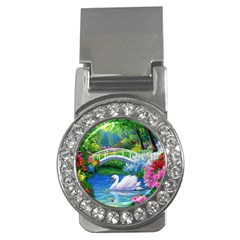 Swan Bird Spring Flowers Trees Lake Pond Landscape Original Aceo Painting Art Money Clips (cz)