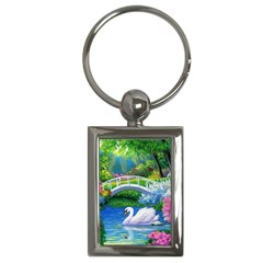 Swan Bird Spring Flowers Trees Lake Pond Landscape Original Aceo Painting Art Key Chains (rectangle)
