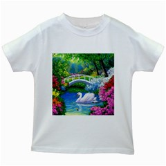 Swan Bird Spring Flowers Trees Lake Pond Landscape Original Aceo Painting Art Kids White T Shirts