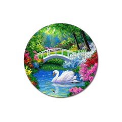 Swan Bird Spring Flowers Trees Lake Pond Landscape Original Aceo Painting Art Magnet 3  (Round)