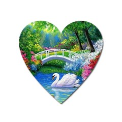 Swan Bird Spring Flowers Trees Lake Pond Landscape Original Aceo Painting Art Heart Magnet