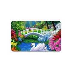 Swan Bird Spring Flowers Trees Lake Pond Landscape Original Aceo Painting Art Magnet (name Card)