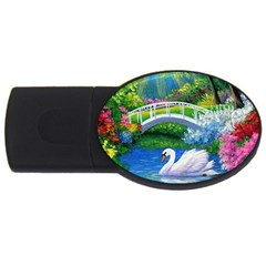 Swan Bird Spring Flowers Trees Lake Pond Landscape Original Aceo Painting Art Usb Flash Drive Oval (2 Gb)