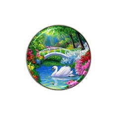 Swan Bird Spring Flowers Trees Lake Pond Landscape Original Aceo Painting Art Hat Clip Ball Marker (4 Pack)
