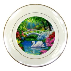Swan Bird Spring Flowers Trees Lake Pond Landscape Original Aceo Painting Art Porcelain Plates