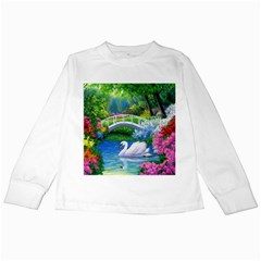 Swan Bird Spring Flowers Trees Lake Pond Landscape Original Aceo Painting Art Kids Long Sleeve T-Shirts