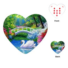 Swan Bird Spring Flowers Trees Lake Pond Landscape Original Aceo Painting Art Playing Cards (heart)