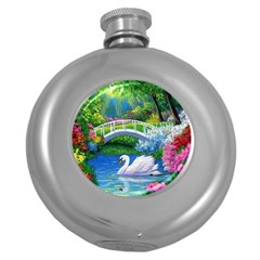 Swan Bird Spring Flowers Trees Lake Pond Landscape Original Aceo Painting Art Round Hip Flask (5 Oz)