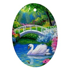 Swan Bird Spring Flowers Trees Lake Pond Landscape Original Aceo Painting Art Oval Ornament (two Sides)
