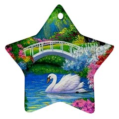 Swan Bird Spring Flowers Trees Lake Pond Landscape Original Aceo Painting Art Star Ornament (two Sides)