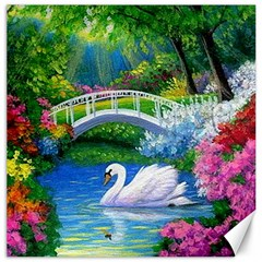 Swan Bird Spring Flowers Trees Lake Pond Landscape Original Aceo Painting Art Canvas 20  X 20