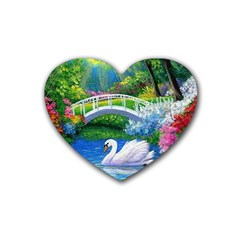 Swan Bird Spring Flowers Trees Lake Pond Landscape Original Aceo Painting Art Heart Coaster (4 pack)