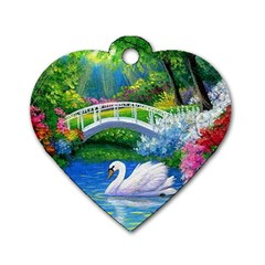 Swan Bird Spring Flowers Trees Lake Pond Landscape Original Aceo Painting Art Dog Tag Heart (one Side)