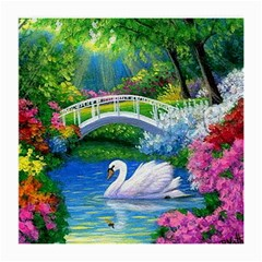 Swan Bird Spring Flowers Trees Lake Pond Landscape Original Aceo Painting Art Medium Glasses Cloth (2 Side)