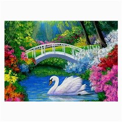Swan Bird Spring Flowers Trees Lake Pond Landscape Original Aceo Painting Art Large Glasses Cloth (2-Side)