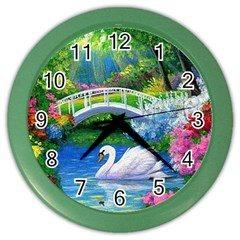 Swan Bird Spring Flowers Trees Lake Pond Landscape Original Aceo Painting Art Color Wall Clocks
