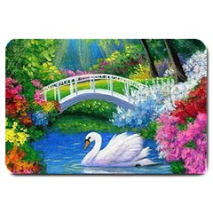 Swan Bird Spring Flowers Trees Lake Pond Landscape Original Aceo Painting Art Large Doormat