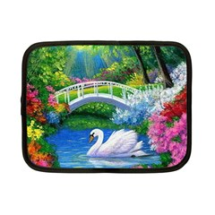 Swan Bird Spring Flowers Trees Lake Pond Landscape Original Aceo Painting Art Netbook Case (small)