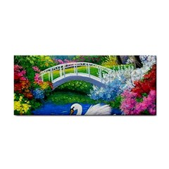 Swan Bird Spring Flowers Trees Lake Pond Landscape Original Aceo Painting Art Cosmetic Storage Cases