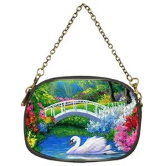 Swan Bird Spring Flowers Trees Lake Pond Landscape Original Aceo Painting Art Chain Purses (one Side)