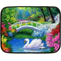 Swan Bird Spring Flowers Trees Lake Pond Landscape Original Aceo Painting Art Fleece Blanket (mini)