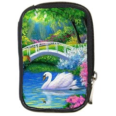 Swan Bird Spring Flowers Trees Lake Pond Landscape Original Aceo Painting Art Compact Camera Cases