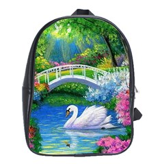 Swan Bird Spring Flowers Trees Lake Pond Landscape Original Aceo Painting Art School Bags(large)