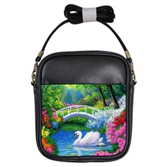 Swan Bird Spring Flowers Trees Lake Pond Landscape Original Aceo Painting Art Girls Sling Bags